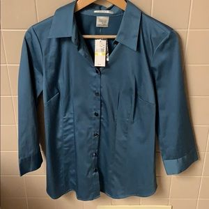 NWT Van-Heusen button down dark teal blue shirt